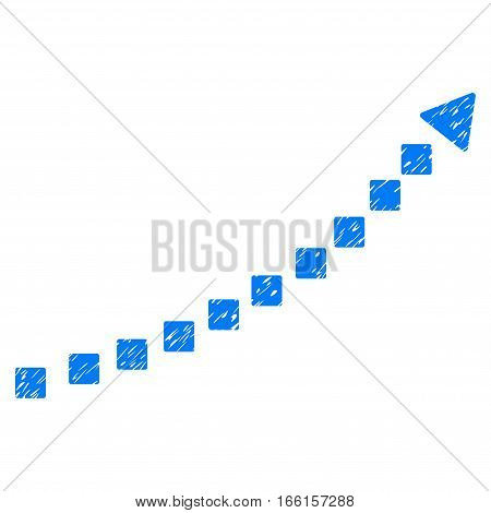 Dotted Growth Trend grainy textured icon for overlay watermark stamps. Flat symbol with dirty texture. Dotted vector blue ink rubber seal stamp with grunge design. Designed with square dots.
