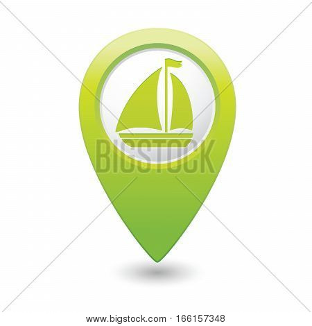 Map pointer with sailboat icon. Vector illustration