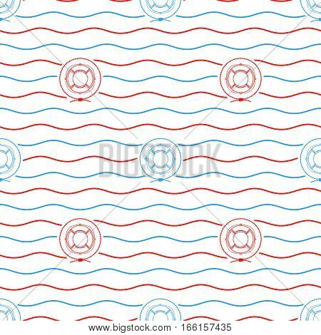Seamless Pattern with Lifebuoy ,Emblem Blue and Red Lifeline on a Background of Red and Blue Waves,Seamless Pattern with Marine Element for Web Design or Wallpaper or Fabric
