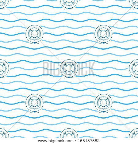 Seamless Pattern with Lifebuoy, Emblem Blue Lifeline in the Middle of a Rope on a Background of Blue Waves , Seamless Pattern with Marine Element for Web Design or Wallpaper or Fabric