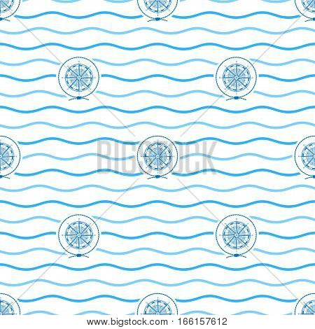 Seamless Pattern with Compass Rose, Emblem Blue Wind Rose in the Middle of a Rope on a Background of Blue Waves, Seamless Pattern with Marine Element for Web Design or Wallpaper or Fabric