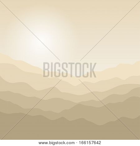Mountain Landscape, the Silhouette of the Mountains at Sunrise, View of the Mountains in the Morning,Mountain Ranges in Shades of Yellow, Waves