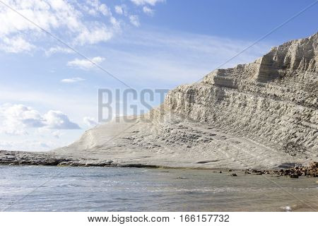 The white cliff called Scala dei Turchi in Sicily near Agrigento