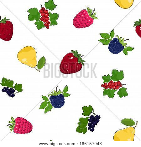 Seamless Pattern of Fresh Ripe Fruits and Berries, Fruit  Berry Pattern