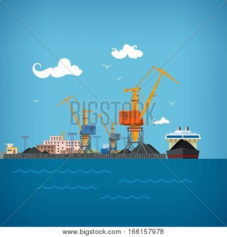 Cargo Sea Port ,Unloading Coal or Ore from the Dry Cargo Ship, Cranes Load Coal on the Dry Cargo Ship or Unload , Logistic, Sea Freight Transportation, Cargo Transport Port , Warehouses and Cranes