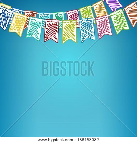 Festive Background, Holiday Colorful Colored Bunting Flags on Blue Background, Drawing Crayons or Markers
