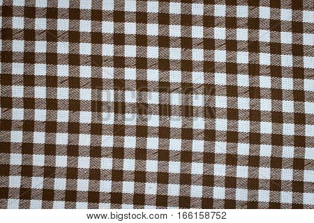 Checkered Background, Empty Table Covered With Checkered Tablecloth