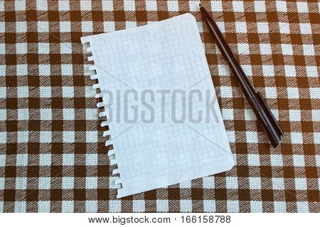 Fragmentary Piece Of Paper For Taking Notes With A Pen On The Table, Top View. Checkered Background
