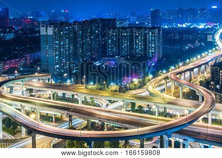 Aerial View of Chengdu overpass at Night.