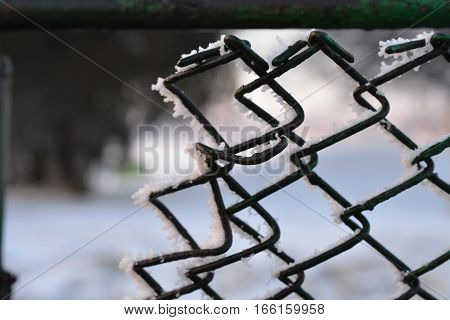 On the opposite part of a shaky iced fence