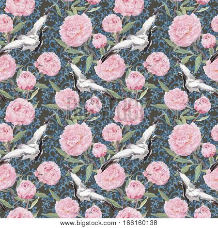 Crane birds dance in pink peony flowers. Floral seamless background with ornate ethnic decor. Watercolor