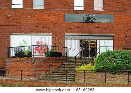 LINCOLN, UK - JULY 1, 2016: Marks and Spencer store. M&S is a major British multinational retailer headquartered in the City of Westminster London.