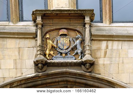 Detail from the facade of the Guildhall and Stonebow on High street in Lincoln England- the meeting place of the Lincoln City Council from Medieval times to the present.