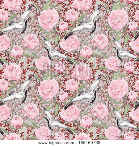 Crane birds dance in pink peony flowers. Floral repeating asian pattern with chinese traditional ornamental decor. Watercolor