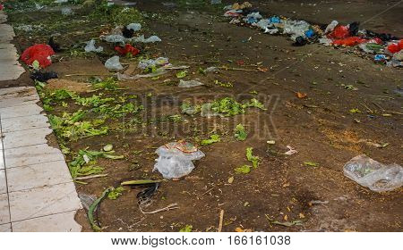 Scarp littered on the ground at Pasar Minggu traditional market photo taken in Jakarta Indonesia java