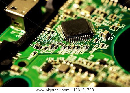 Macro Photo Of Electronic Circuit Board Of Computer Chip