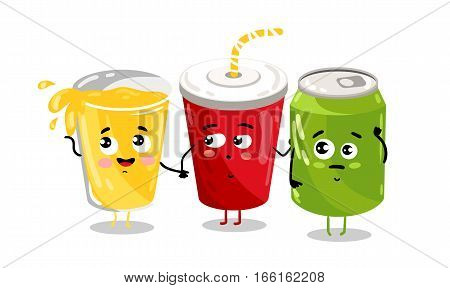 Cute take away glass with straw and aluminum soda can cartoon character isolated on white background vector illustration. Funny sweet drink emoticon face icon.