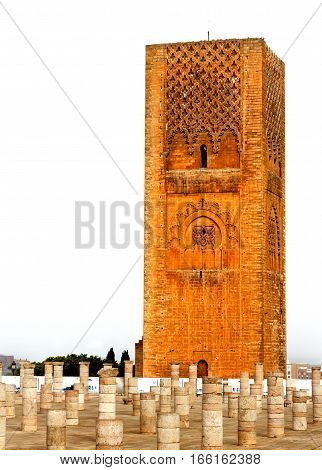 Hassan Tower in front of the Mausoleum of Mohammed V in Rabat, Morocco