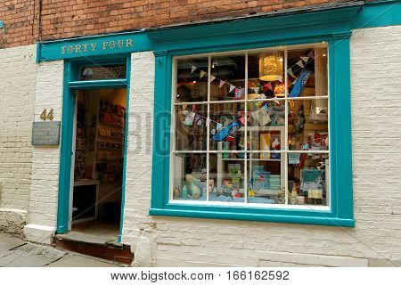 LINCOLN, UK - JULY 1, 2016: Shop 44 on Steep Hill a popular tourist street in the historic city of Lincoln. In 2011 it was named