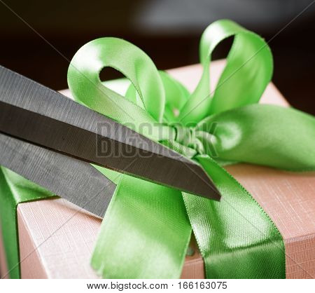 Decorating Gift Box With Green Ribbon Using Scissor