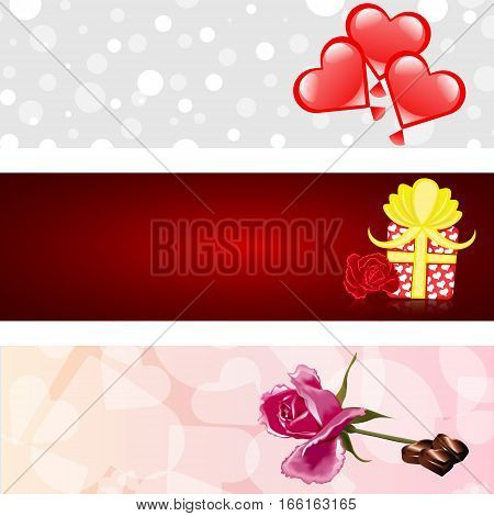 Valentines day three banners set love hearts rose candy chocolatte