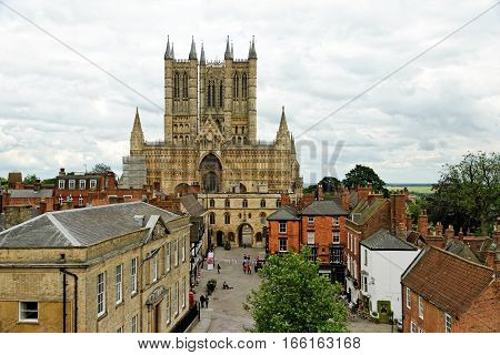 Lincoln Cathedral or the Cathedral Church of the Blessed Virgin Mary of Lincoln the seat of the Anglican bishop in Lincoln, England.