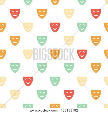 Vector hand drawn cartoon seamless pattern with comedy mask. Cinema theater theme. Colored comedy pattern for paper textile polygraphy game web design