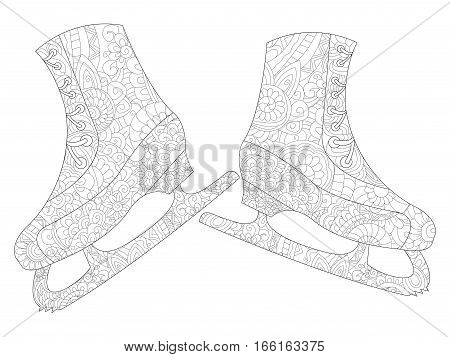 A pair of skates coloring book for adults vector illustration. Anti-stress coloring for adult. Zentangle style. Black and white lines. Lace pattern feline
