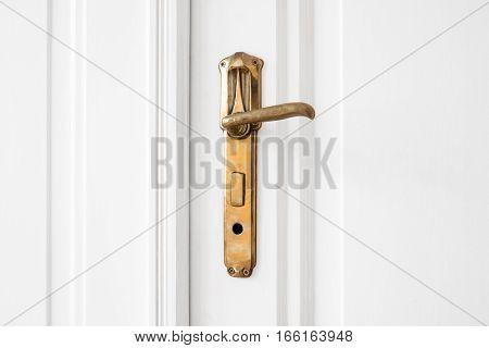 Old Door Handle  On White Door