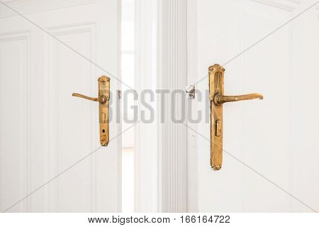 Golden Door Handle  On Old White Doors