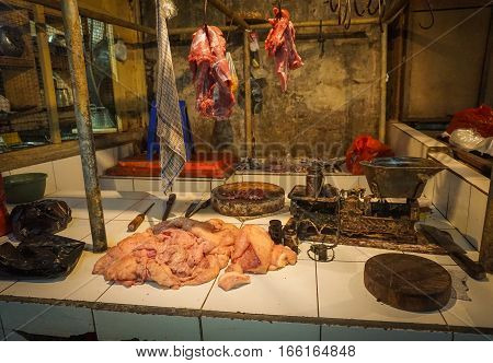 Beef and chicken meat sold in one of butcher in Jakarta Indonesia java