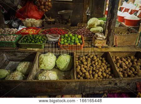 Shopping vegetables and other ingredients for cooking from traditional market photo taken in Jakarta Indonesia java