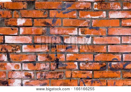 The texture of uneven masonry. Rectangular background brickwork. Old red bricks with spots.