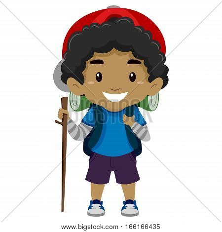 Illustration of a Black Boy in camping costume