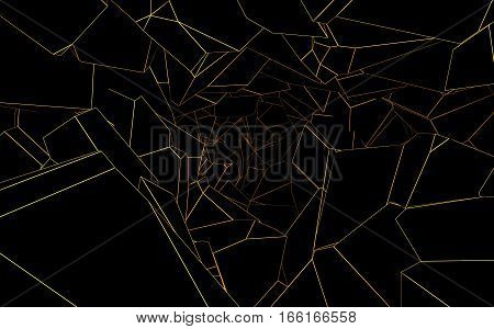 abstract black polygonal cavern with orange lines 3d rendering