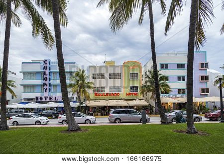 Colony Hotel And Other Art Deco Hotels Located At  Ocean Drive