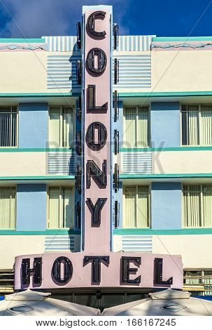MIAMI USA - AUG 5 2013: The Colony hotel located at 736 Ocean Drive and built in the 1930's is the most photographed hotel in South Beach in Miami Florida.