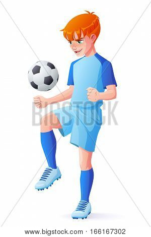 Cute young redhead football or soccer player boy in blue uniform juggling with ball. Cartoon vector illustration isolated on white background.