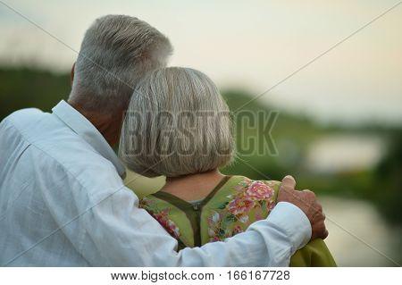 Happy senior couple  near river at autumn , back view