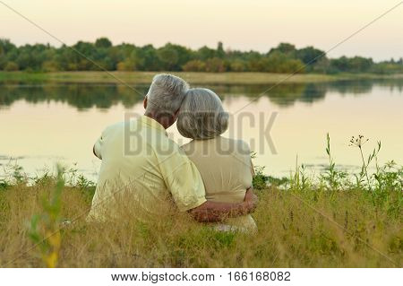 Portrait of a senior couple in love posing outdoors