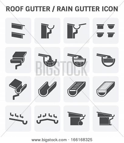Roof gutter for drainage system vector icon set design. poster