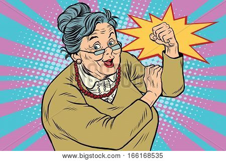 Granny old lady We can do it. Pop art retro vector illustration