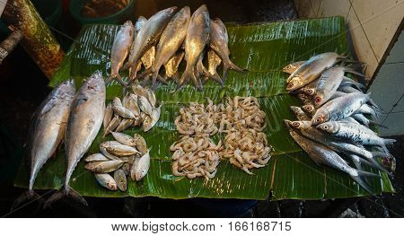 Saltwater fishes sold by fishmonger at Pasar Minggu traditional market in Jakarta Indonesia java