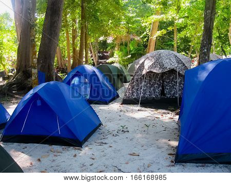 Tents camping for overnight stays of tourists at Similan Islands Thailand