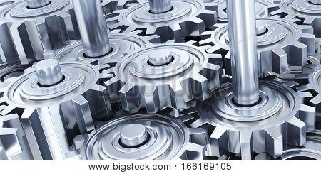 Many steel gear linking background. 3d illustration