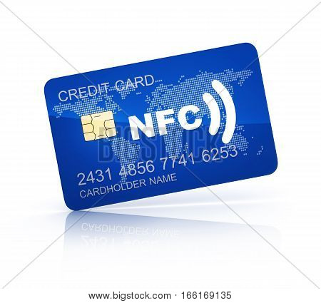 Credit card and symbol near field communication (NFC). 3d illustration