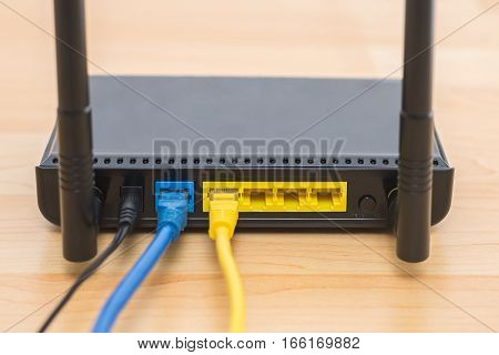 Wireless modem router network with cable connecting