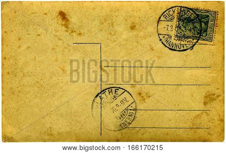 An old yellowed postcard Germany on white background