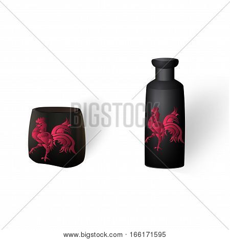 Flower vases, ikebana. With a picture of the cock. Isolated on white background with shadow. Vector illustration