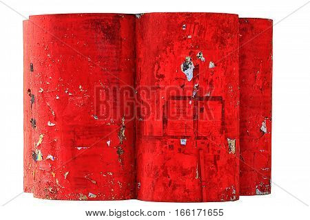 The red paint is peeling. To use for the photo montage as an illustration, texturing. Isolated on a white background.